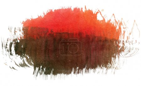 Photo for Red and brown watercolor spot, isolated on a white background. - Royalty Free Image