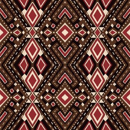 Photo pour Modèle sans couture avec motif ethnique stylisé. Illustration dessinée à la main. - image libre de droit