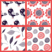 Set of seamless patterns with colored birds flowers and leaves on a white  background  in doodle style Vector illustration