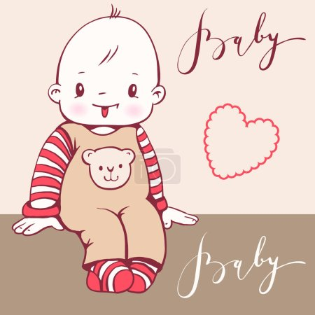 Illustration for Illustration of a cute baby. Hand-drawn illustration. Vector. - Royalty Free Image