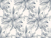 Seamless pattern - black and white flower background Vector illustration