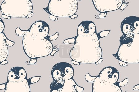 Illustration for Monochrome seamless pattern with cute penguins. Hand-drawn illustration. Vector. - Royalty Free Image