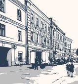 """Постер, картина, фотообои """"Вид на улицу с зданиями"""""""