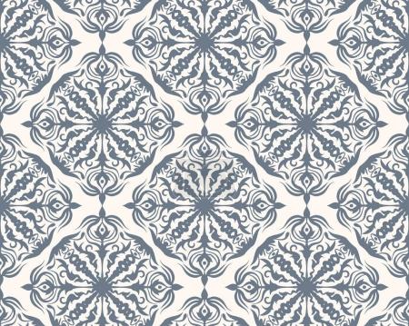Illustration for Grey and white seamless pattern with floral and geometrical ornament in a retro style. Vector illustration - Royalty Free Image