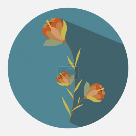 Illustration for Red Flowers Twig Vector Illustration - Royalty Free Image
