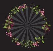 Flowers Frame Sunburst Background