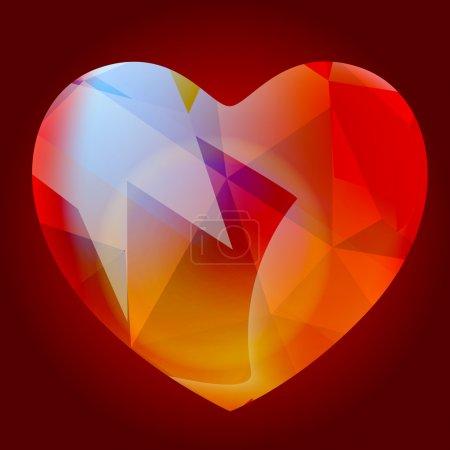 Shiny Glassy Heart Vector