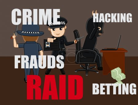 Cops Arrested a Fraud Hacker Vector Concept