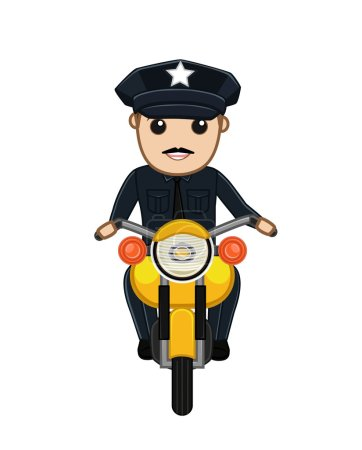 Traffic Police on Bike Vector Illustration