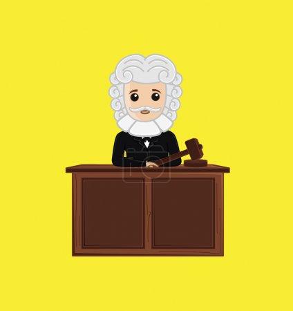 Illustration pour Juge en salle d'audience Illustration vectorielle - image libre de droit