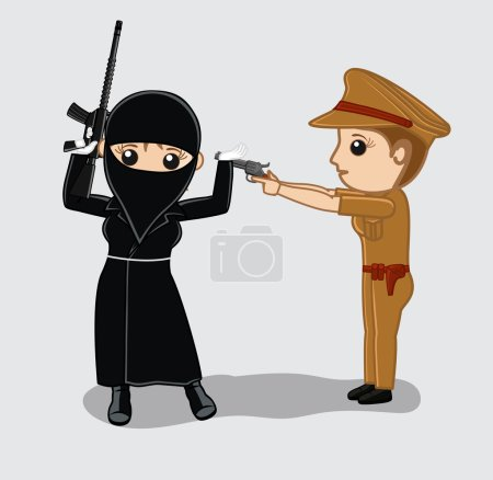 Female Police Arrested a Female Terrorist