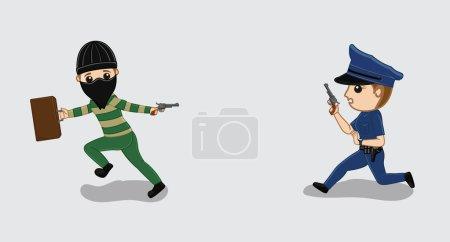 Police Firing on Robber