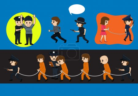 Police Arrested Criminals Vector Illustration