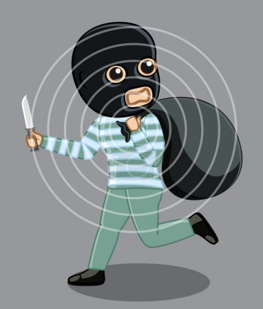 Balaclava Robber Running After Robbery Concept