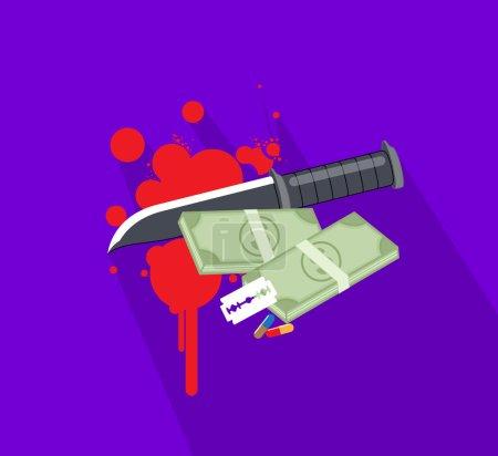 Knife, Cash and Blood Splatters