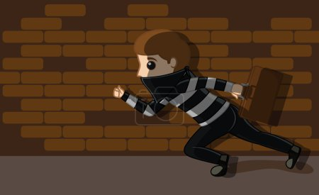Thief Running with Money Suitcase