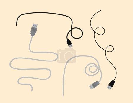 USB Wires Vector Elements