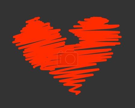 Scribble Valentine Heart Vector