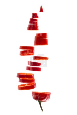Sliced red bell pepper on a white background