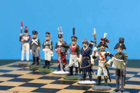 Photo for Tactical formation of tin during the Napoleonic wars of 1812 on a chessboard - Royalty Free Image