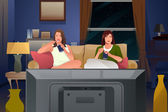 Two Female Friends Watching TV and Eating Ice Cream