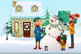 Family Building a Snowman Outdoor