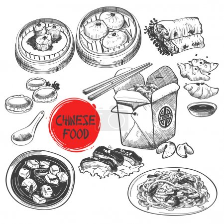 Illustration for A vector illustration of Chinese Dim Sum Dish in Ink Style - Royalty Free Image
