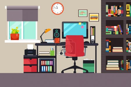 Illustration for A vector illustration of Home Office in Flat Style - Royalty Free Image