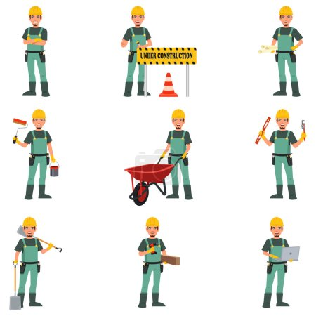 Illustration for A vector illustration of Construction Worker Doing Work - Royalty Free Image