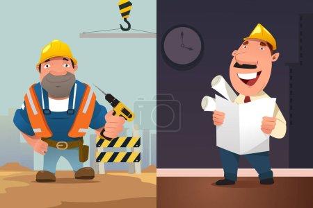 Illustration pour Illustration vectorielle du dessin animé Travailleur de la construction et architecte - image libre de droit