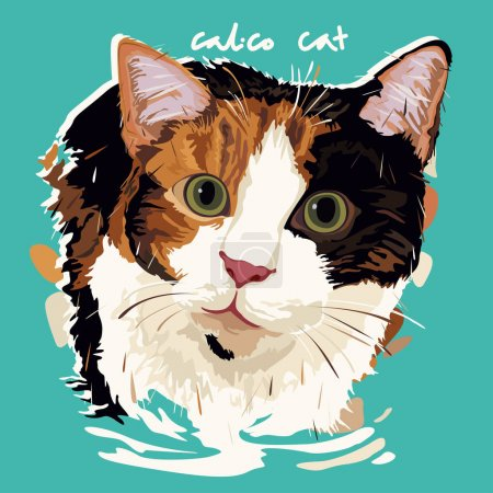 Illustration for A vector illustration of Calico Cat Painting Poster - Royalty Free Image