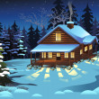 A vector illustration of Cabin in the Woods During...