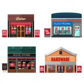 A vector illustration of Different Stores with Sale Signs