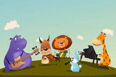 Animals Playing Music Instrument in a Band