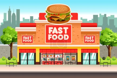 Illustration pour Une illustration vectorielle de Fast Food Restaurant - image libre de droit