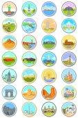 World Landmarks Travel Icons