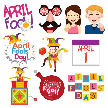 Illustration for A vector illustration of April Fools Day - Royalty Free Image
