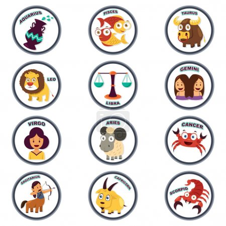 Illustration for A vector illustration of Zodiac in Cartoon Style - Royalty Free Image