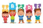 Children Holding Alphabet Puzzle Cards