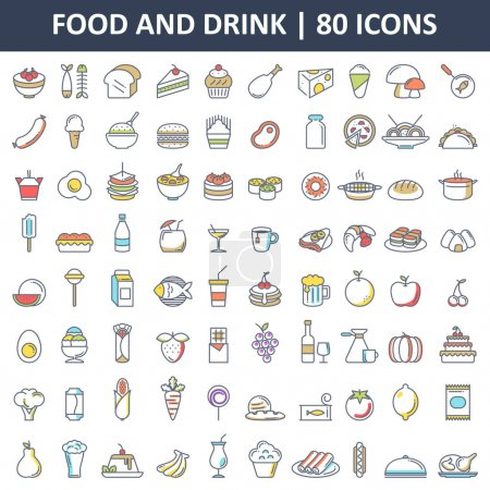 Photo pour Une illustration vectorielle de Food and Drink Flat Icons - image libre de droit