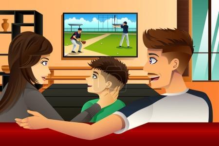 Illustration pour Illustration vectorielle de l'observation de la télévision familiale à la maison - image libre de droit