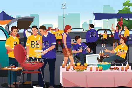 Illustration pour Illustration vectorielle de fans américains de football faisant une fête au hayon - image libre de droit