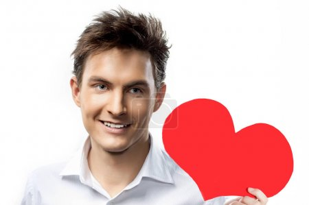 man portrait with red heart