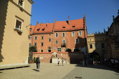 Photo for KRAKOW, POLAND - AUGUST 1, 2017: Wawel hill with cathedral and castle. Wawel Castle complex is a historic architectural center of ancient city. - Royalty Free Image