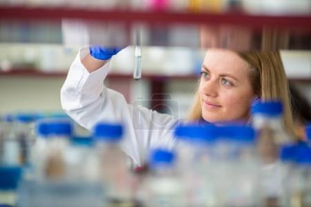 Photo for Portrait of a female researcher doing research in a lab (shallow DOF; color toned image) - Royalty Free Image