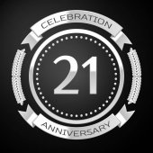 Twenty one years anniversary celebration with silver ring and ribbon on black background Vector illustration