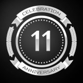 Eleven years anniversary celebration with silver ring and ribbon on black background Vector illustration