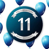 Silver number eleven years anniversary celebration on blue circle paper banner with silver ribbon Realistic blue balloons with ribbon on white background Vector illustration