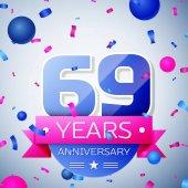 Sixty nine years anniversary celebration on grey background Anniversary ribbon