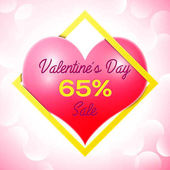 Realistic red heart with an inscription in centre text Valentines Day Sale 65 percent Discounts in yellow square frame SALE concept for shopping mobile devices online shop Vector illustration
